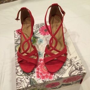 💥💰 Drop NWT Talbots Berry Red Suede Strap Heels